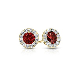 Fine Jewelry Vault Ruby and Diamond Halo Stud Earrings in 14K Yellow Gold 1.00.ct.tw