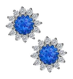 Fine Jewelry Vault Sapphire with CZ Earrings in 14K White Gold