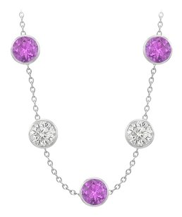 Fine Jewelry Vault Station necklace with Amethyst and Cubic Zirconia 75 Carat