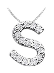 FineJewelryVault CZ Initial Sterling Silver S Pendant