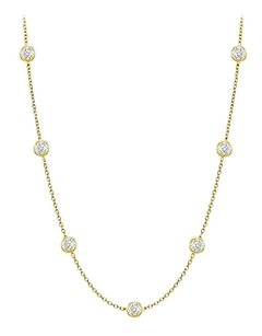 finejewelryvault Diamonds By The Yard Necklace in 14K Yellow Gold Bezel Set 0.15 ct.tw
