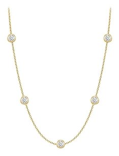 finejewelryvault Diamonds By The Yard Necklace in 14K Yellow Gold Bezel Set 0.25 ct.tw