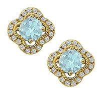 Fine Jewelry Vault March Birthstone Aquamarine with CZ Earrings in 14K Yellow Gold