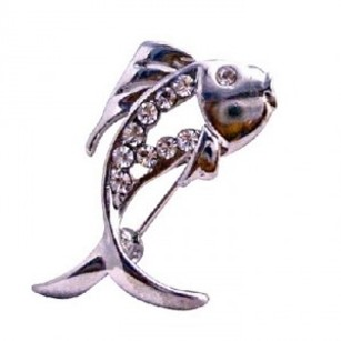 Silver Fish Fully Decorated Cubic Zircon Eye Gift Idea Brooch/Pin