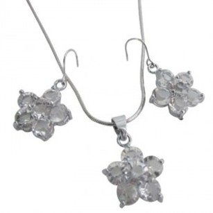 Grey Flower Pendant Earrings Clear Crystals Flower Pendant Earrings Jewelry Set