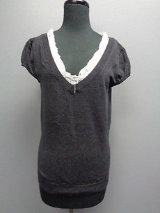 For Joseph V Neck Top Charcoal