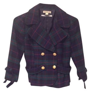 Forever 21 Tartan Preppy navy and green plaid Blazer