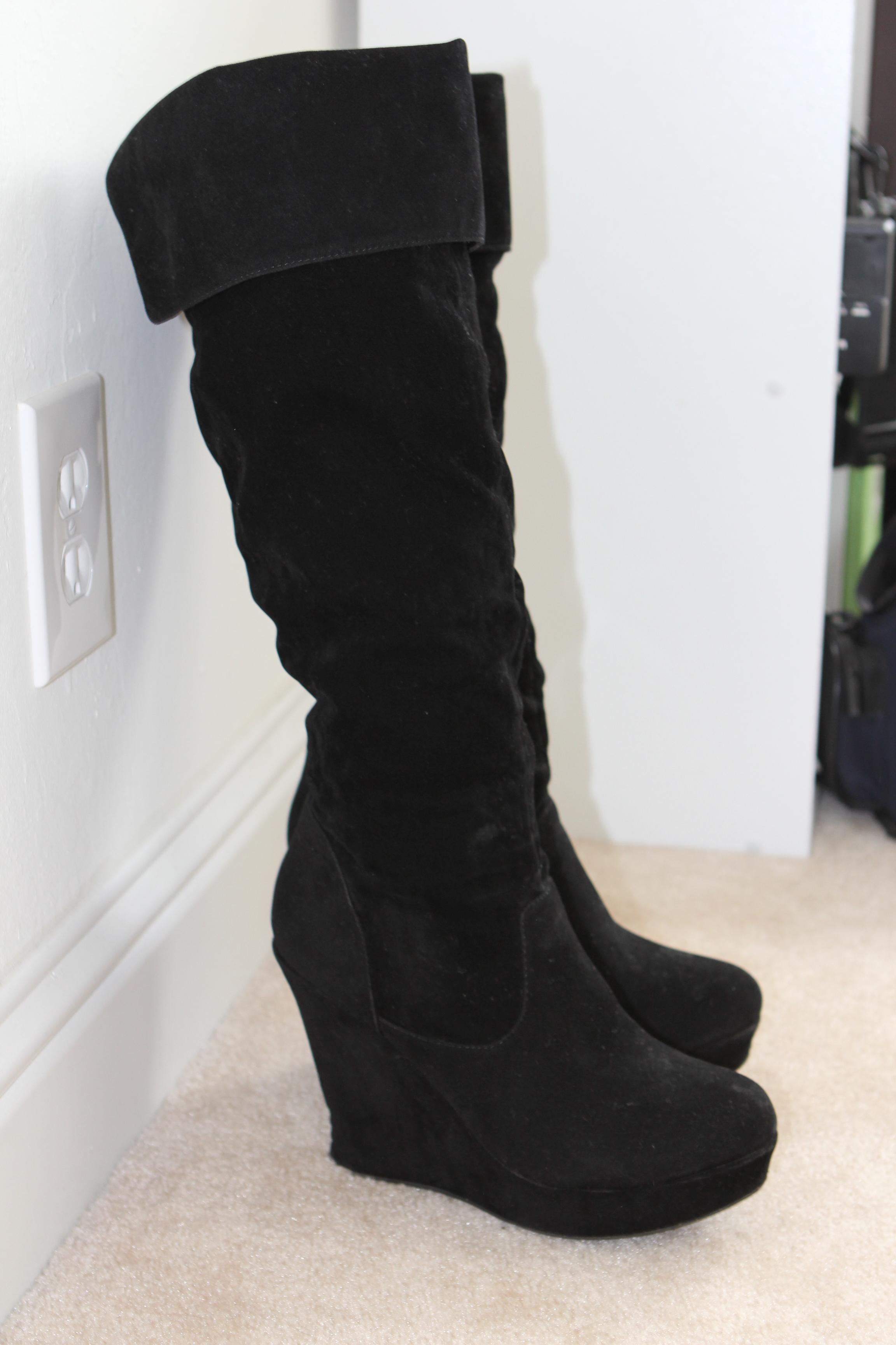 forever 21 wedge knee high faux suede faux leather black