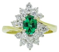 Fortunoff Fine Jewelry Fortunoff 18k Gold With Over 1.00 Tcw Diamond Colombian Emerald Ring R676