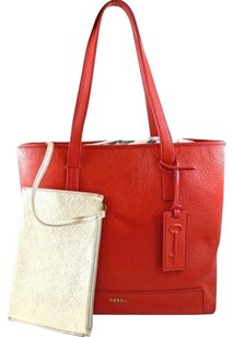 Fossil Leather Madison Real Tote in Red