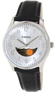 Fossil Fossil Agent Silver Dial Black Leather Strap Men's Watch