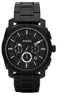 Fossil Fossil Black Chronograph Stainless Steel Mens Watch Fs4552