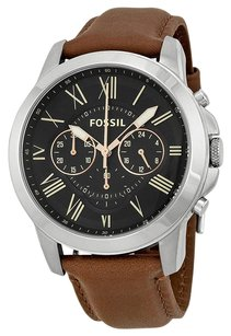 Fossil FOSSIL Grant Chronograph Black Dial Brown Leather Men's Watch FSFS4813