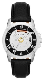 Fossil Fossil Grant Skeleton Dial Black Leather Mens Watch FS4869