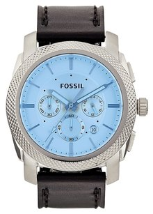 Fossil Fossil Men's Chronograph Machine Black Leather Strap Watch 45mm