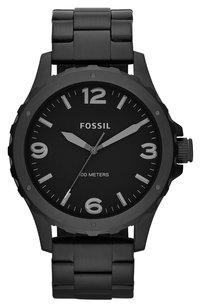 Fossil Fossil Men's JR1458 Nate Three-Hand Stainless Steel Watch - Black
