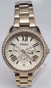 Fossil Fossil Womens Am4482 Cecile Gold-tone Stainless Steel Watch Broken Sold As Is