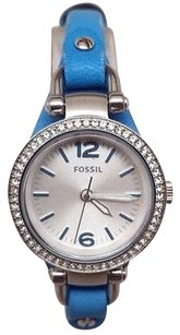 Fossil Fossil Womens Es3474 Georgia Crystal Accent Blue Leather Watch