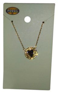 Fossil Heart Necklace Gold/Black Pave