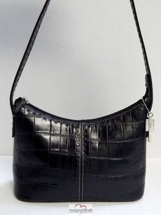 Fossil Croc Leather Top Zip Shoulder Bag
