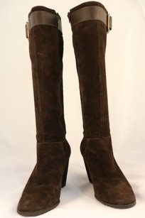 Franco Sarto Womens Knee High Suede Leather Brown Boots