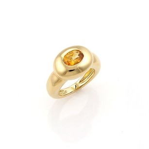 FRED Fred Of Paris 18k Yellow Gold Oval Citrine Solitaire Ring - 5.75