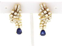 FRED Fred Paris 18k Yellow Gold Diamond Sapphire Earrings
