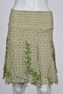 Free People People Womens Floral A Line 0 Knee Length Casual Skirt White