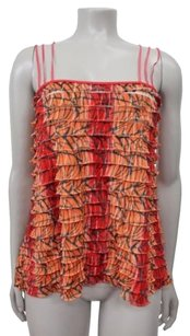 Free People People Ruffle With Triple Thin Orange Combo Top Multi-Color