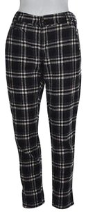 Free People People Womens Black Cropped Plaid Casual Capri Trousers Capri/Cropped Pants Multi-Color