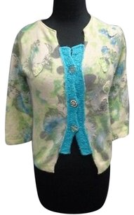 Free People People Blue Green Wool Blend Floral Print Button Down Cardigan Sma7230 Sweater