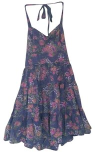 Free People short dress Purple Halter Floral Tiered on Tradesy