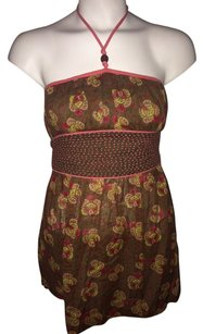 Free People Brown / Pink / Yellow / Red Halter Top