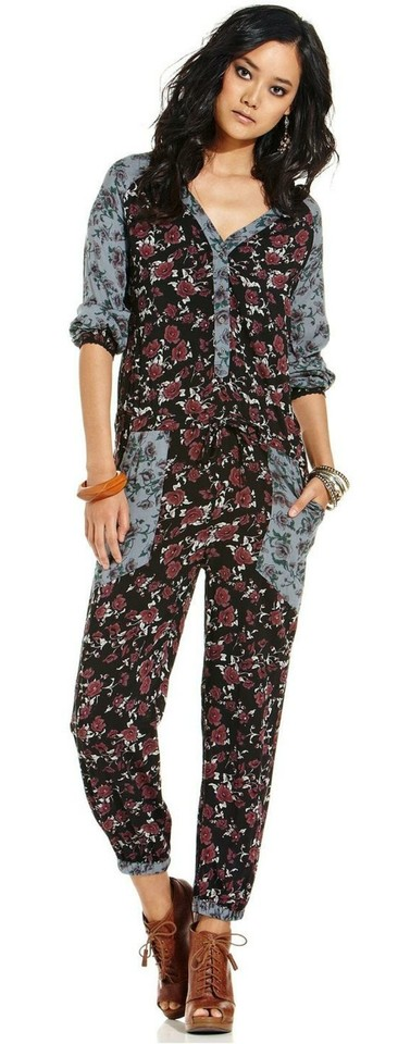 aad5676ceac Free People Mixed Print Leia Long Romper Jumpsuit Size 4 .