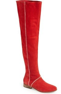 Free People Grandeur Suede Red Boots