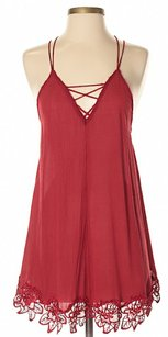Free People short dress Red Lace Trim Crisscross Strap Sleeveless on Tradesy