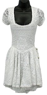 Free People People Beach White Lace Overlay Front Pocket Skirted B184 Dress