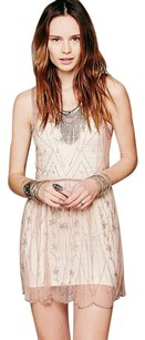 Free People short dress Rose Slip Beaded Sheer Mesh on Tradesy