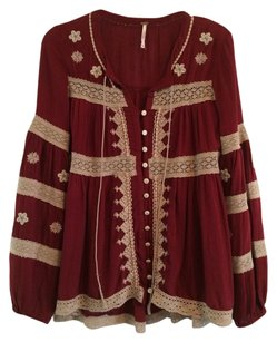 Free People Top Deep Cranberry