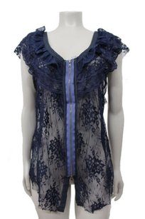Free People Lace Boho Top Navy
