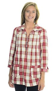 Free People Plaid Tie Back Top Red