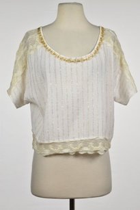 Free People Womens White Top White, Creme, Gold