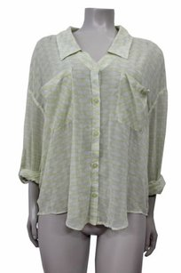 Free People People Sheer Pockets Shirttail Roll Sleeves Top white yellow