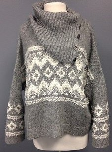 Free People People White Wool Button Accented Turtleneck Sma 10808 Sweater