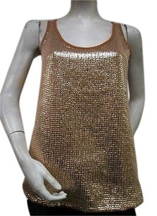 French Connection Scoop Neck Top Brown & Gold