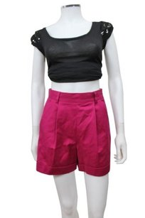 French Connection Magnolia Moments Berry Cuffed High Waist Mini/Short Shorts Purple