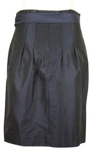 French Connection Womens Metallic Pleated Silk Blend Skirt Blue