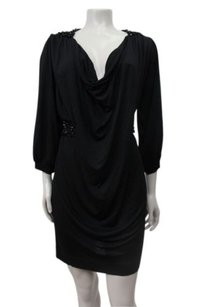 French Connection Draped Cowl Neck Jewel Belt Dress