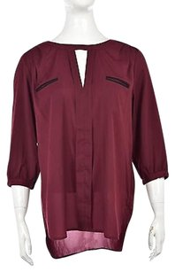 French Connection Womens 34 Sleeve Shirt Top Burgundy