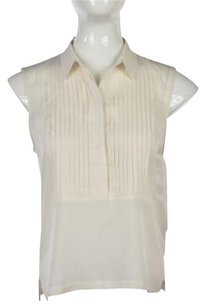 French Connection Womens Sleeveless Semi Sheer Shirt Top Ivory